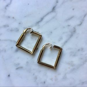 Vintage 80s Square Clip on Hoops